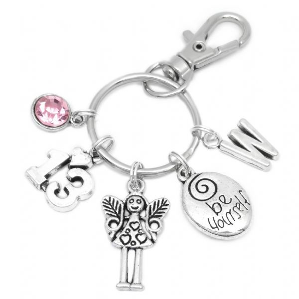 13th Birthday Fairy Charm Keyring Personalised Gift For 13 Year Old